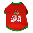 ieftine Pet Costume de Crăciun-Pisici Câine Tricou Îmbrăcăminte Câini Respirabil Rosu Costume Bumbac Bloc Culoare Casul / Zilnic Crăciun XS S M L