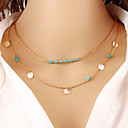 Women's Turquoise Necklace Layered Double Cheap Ladies Vintage Casual Fashion Brass Turquoise Gold Silver Necklace Jewelry Special Occasion Birthday Gift