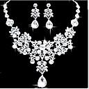 ieftine Seturi de Bijuterii-Seturi de bijuterii Pară Declarație femei Petrecere Elegant de Mireasă Zirconiu Cubic cercei Bijuterii Alb Pentru Nuntă Bal 1set / Cercei / Coliere