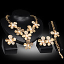 ieftine Uscător de Păr-Perle Seturi de bijuterii Inel reglabil Flori Floare Declarație femei Petrecere Lanț Modă Zirconiu Cubic cercei Bijuterii Auriu Pentru Petrecere Ocazie specială Aniversare Zi de Naștere Cadou