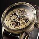 ieftine Ceasuri Bărbați-Bărbați Ceas Schelet Ceas de Mână ceas mecanic Mecanism automat Piele Negru / Maro Gravură scobită Analog Lux - Negru Maro