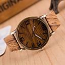 ieftine Ceasuri Damă-Bărbați Ceas La Modă Ceas Lemn Japoneză Quartz Piele PU Matlasată Maro / Gri 30 m Ceas Casual Analog Charm - 4# 5# 6# Doi ani Durată de Viaţă Baterie