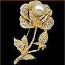 povoljno iPhone maske-Žene Broševi Cvijet Roses Cvijet dame Luksuz Zabava Moda Biseri Kubični Zirconia Pozlata od crvenog zlata Broš Jewelry Zlato Za Vjenčanje Party Special Occasion godišnjica Rođendan Dar