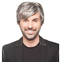 Synthetic Wig Straight Straight Bangs Wig Short Grey Synthetic Hair Men's Bangs Gray