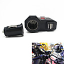 12v-24v Waterproof Motorcycle Car Dual USB Charger Cigerrete Lighter Switch + Dual USB Socket