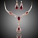 povoljno LED svjetla u traci-Žene Crvena Više boja Kristal Sintetička Rubina Komplet nakita Viseće naušnice Ogrlice s privjeskom dame Luksuz Moda Kubični Zirconia Pozlaćeni Naušnice Jewelry Crn / purpurna boja / Crvena Za
