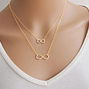 Women's Pendant Necklace Double Floating Mother Daughter Infinity Cheap Ladies Basic Double-layer Alloy Silver Golden Necklace Jewelry Party Daily Casual