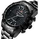 ieftine Ceasuri Bărbați-NAVIFORCE Bărbați Ceas Sport Ceas de Mână Japoneză Quartz Oțel inoxidabil Negru / Argint 30 m Rezistent la Apă Alarmă Calendar Analog - Digital Lux - Negru Argintiu Rosu Doi ani Durată de Via / LED