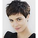 Synthetic Wig Wavy Kardashian Style Pixie Cut Bangs Wig Short Natural Black Synthetic Hair Women's Black Wig
