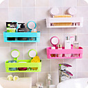 رخيصةأون أدوات الحمام-1 قطعة المطبخ الحمام الجرف جدار الرف مع 2 المصاصين البلاستيكية دش العلبة منظم حامل صينية مع كؤوس الشفط تخزين غسول