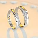 ieftine Inele-Pentru cupluri Inele Cuplu Eternity Ring Zirconiu Cubic 2pcs Inima 1 Inima 2 Inima 3 Plastic femei Bling bling Nuntă Petrecere Bijuterii Două-Tonuri Inimă Ajustabil