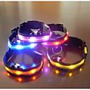 رخيصةأون أطواق ومقاود الكلاب-كلب ياقة أضواء LED قابل للسحبقابل للتعديل منسوجات بلاستيك أزرق زهري قوس قزح