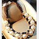 ieftine Colier la Modă-Pentru femei Perle Coliere Κολιέ με Πέρλες lasou femei Lux Perle Diamante Artificiale Aliaj Alb Coliere Bijuterii Pentru Petrecere
