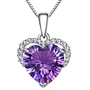 cheap Earrings-Women's Crystal Amethyst Pendant Necklace Simulated Heart Love Ladies Fashion Sterling Silver Zircon Rhinestone Purple Necklace Jewelry For Party Daily Casual