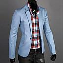 저렴한 남성 자켓 & 수트-남성용 일상 / 작동 봄 / 가을 보통 블레이져, 솔리드 노치 라펠 긴 소매 면 다크 블루 / 그린 / 블루 / 슬림