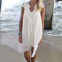 رخيصةأون أقراط-أبيض M L XL دانتيل لون سادة, ملابس السباحة تغطية الجسم أبيض قبة مرتفعة حول الرقبة صلب شرابة نسائي / قطع واحدة