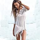 رخيصةأون أساور-أبيض حجم واحد قطن مكشكش لون سادة, ملابس السباحة تغطية الجسم أبيض أسود أزرق ضفائر الكروشيه مكشكش نسائي / مثير