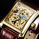 رخيصةأون ساعات الرجال-رجالي ساعة المعصم ووتش الميكانيكية داخل الساعة ميكانيكي يدوي جلد أسود / بني 30 m نقش جوفاء مماثل ترف - أبيض أسود ذهبي / ستانلس ستيل