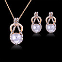 Pearl Jewelry Set Pendant Necklace Ladies Party Fashion Rose Gold Pearl Rhinestone Earrings Jewelry White Party Special Occasion Anniversary Birthday Gift / Imitation Diamond / Rose Gold Plated