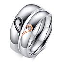 ieftine Inele-Pentru femei Inele Cuplu Band Ring Zirconiu Cubic Argintiu Zirconiu Oțel titan Placat Auriu femei Pietrele Lunilor De Fiecare Zi Nuntă Petrecere Bijuterii Inimă Iubire Prietenie