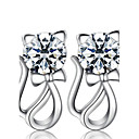 Women's Synthetic Diamond Hollow Stud Earrings Pearl Sterling Silver Imitation Diamond Earrings Cat Animal Ladies Luxury Fashion Jewelry Silver Wedding Party Daily Masquerade Engagement Party