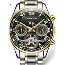 voordelige Merk Horloge-Carnival Heren Skeleton horloge Automatisch opwindmechanisme Roestvrij staal Wit / Goud 30 m Hol Gegraveerd Analoog-Digitaal Amulet - Zwart / Goud