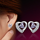 ieftine Inele-Pentru femei Cercei Stud Inimă femei Plastic Argintiu cercei Bijuterii Pentru Nuntă Petrecere Zilnic Casual Sport