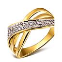 ieftine Inele-Pentru femei Inel de declarație inel de înfășurare Auriu / Alb Alb Zirconiu Cubic Articole de ceramică Placat cu platină femei Modă Nuntă Petrecere Bijuterii X prsten / Placat Auriu / 18K Aur