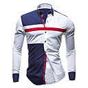 رخيصةأون قمصان رجالي-رجالي بقع قياس كبير قميص, ألوان متناوبة ياقة مفرودة نحيل الأزرق والأبيض / كم طويل / الربيع / الخريف