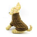 رخيصةأون ملابس وإكسسوارات الكلاب-قط كلب البلوزات الشتاء ملابس الكلاب بني كوستيوم الصوفية لون سادة XS S M L