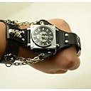 رخيصةأون ساعات الرجال-رجالي ساعات فاشن كوارتز ستايل جلد أسود / بني كوول مماثل ملابس مثيرة جمجمة - أسود