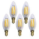 رخيصةأون مصابيح خيط ليد-KWB 5pcs 6 W مصابيحLED 600 lm E14 C35 6 الخرز LED COB ضد الماء ديكور أبيض دافئ 220-240 V / 5 قطع / بنفايات / CE