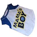 رخيصةأون تزيين المنزل-كلب T-skjorte ملابس الكلاب متنفس أزرق / أبيض كوستيوم قطن مطبوعة بأحرف وأرقام XS S