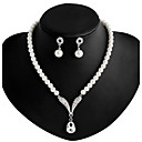 Women's Pearl Necklace / Earrings Long Ladies Imitation Pearl Rhinestone Silver Plated Earrings Jewelry White Wedding Party Daily Masquerade Engagement Party Prom