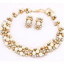 Women's Pearl Jewelry Set Choker Necklace Necklace / Earrings European Pearl Imitation Pearl Gold Pearl Earrings Jewelry Rainbow / White Party Daily Casual Work