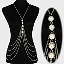 ieftine Bijuterii de Corp-Pentru femei Bijuterii de corp Lanț de Talie / Corp lanț / burtă lanț / Colier ham Perle Auriu / Argintiu Declarație / Ciucure / European Perle / Imitație de Perle / Placat Auriu Costum de bijuterii
