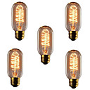 ieftine Becuri Incandescente-5pcs 40W E26 / E27 T45 Alb Cald 2300k Retro / Intensitate Luminoasă Reglabilă / Decorativ Incandescent Vintage Edison bec 220-240V