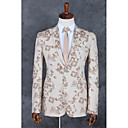 cheap Tuxedos & Suits-Champagne Pattern Standard Fit Polyester Suit - Notch Single Breasted Two-buttons / Pattern / Print / Suits