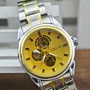 رخيصةأون أساور-رجالي ساعة فستان داخل الساعة أتوماتيك فضة نقش جوفاء مماثل ذهبي