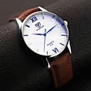 رخيصةأون ساعات الرجال-YAZOLE رجالي ساعة المعصم كوارتز جلد أسود / بني مماثل كلاسيكي ساعة بسيطة - أسود بني