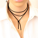 Women's Choker Necklace Y Necklace Tattoo Choker Long Cheap Ladies Personalized Tattoo Style Punk Leather Alloy Black Silver Necklace Jewelry Party Daily Casual
