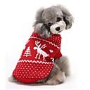 رخيصةأون ملابس وإكسسوارات الكلاب-قط كلب البلوزات ملابس الكلاب الرنة أحمر أزرق قطن كوستيوم من أجل الشتاء رجالي نسائي الدفء عيد الميلاد