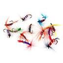 ieftine Momeală Pescuit-12 pcs Δόλωμα Momeală moale Muște Plutire Bass Păstrăv Ştiucă Pescuit mare Pescuit cu Muscă Aruncare Momeală Pană Crom / Momeală pescuit / Pescuit în General