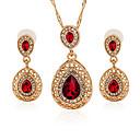 ieftine Ceasuri Damă-Pentru femei Cristal Zirconiu Cubic Seturi de bijuterii Pară Picătură femei Modă Cristal Diamante Artificiale cercei Bijuterii Verde / Rosu / Albastru Pentru Dată Bikini / Cercei