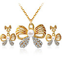 Women's Jewelry Set Pendant Necklace Necklace / Earrings Bowknot Simple Style Fashion Pearl Rhinestone Imitation Diamond Earrings Jewelry Gold / White Party Daily Casual Work