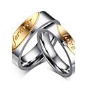 ieftine Inele-Bărbați Pentru femei Inele Cuplu Band Ring Groove Inele Zirconiu Cubic Auriu / Argintiu Zirconiu Oțel titan Ciucure Vintage Modă Nuntă Petrecere Bijuterii Inimă Relaţie