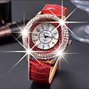 ieftine Ceasuri Damă-Pentru femei Ceasuri de lux Ceasuri din Cristal Diamond Watch Quartz Piele Negru / Alb / Roșu Ceas Casual Analog femei Modă Elegant - Maro Rosu Verde