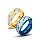 ieftine Inele-Bărbați Band Ring Groove Inele Auriu Albastru Oțel titan Design Unic Modă Nuntă Casual Bijuterii