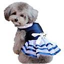 رخيصةأون مخففات التوتر-قط كلب ازياء تنكرية الفساتين ملابس الكلاب مخطط أزرق شيفون تيريليني كوستيوم من أجل الصيف رجالي نسائي الكوسبلاي عيد ميلاد الزفاف