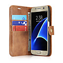 billige Etuier / covers til Galaxy S-modellerne-Etui Til Samsung Galaxy S7 edge / S7 Kortholder / Flip Fuldt etui Ensfarvet Hårdt ægte læder